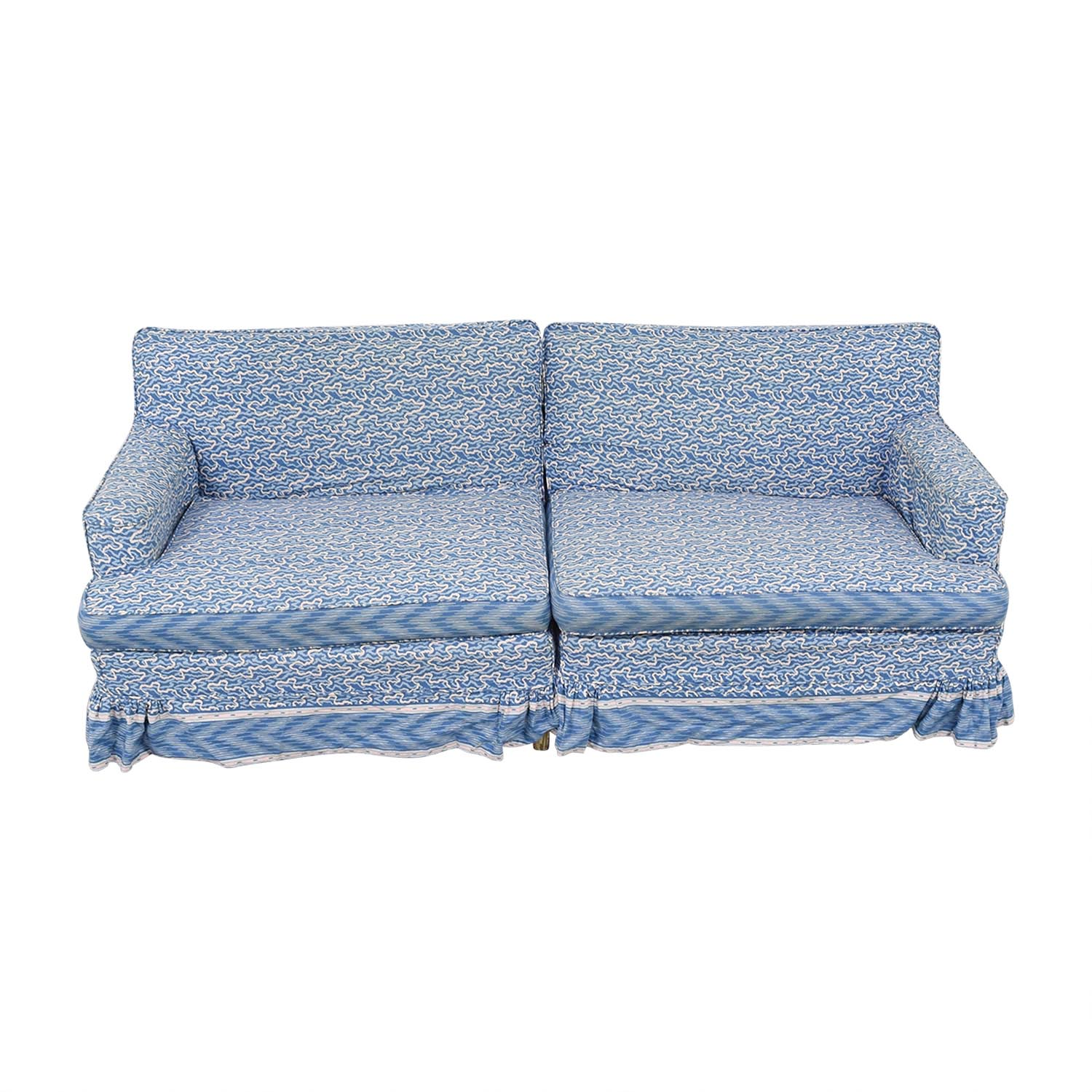 shop Blue and White Custom Upholstered Couch  Classic Sofas