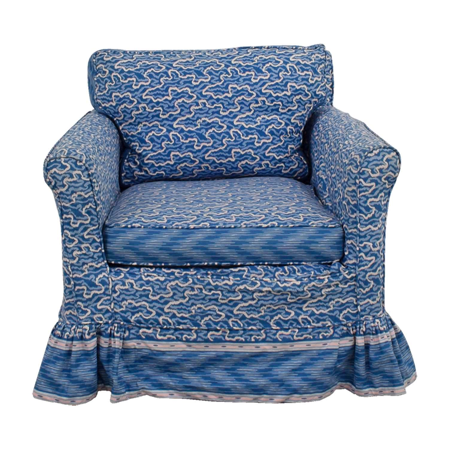 Custom Blue Upholstered Skirted Accent Chair used