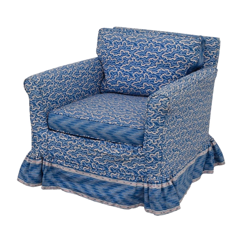 Custom Upholstered Side Chair: Custom Blue Upholstered Skirted Accent Chair