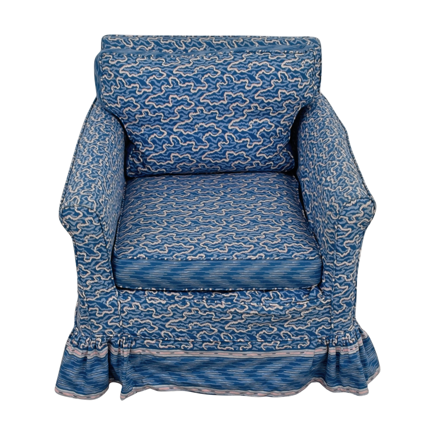 Custom Upholstered Side Chair: Custom Blue Upholstered Accent Chair / Chairs