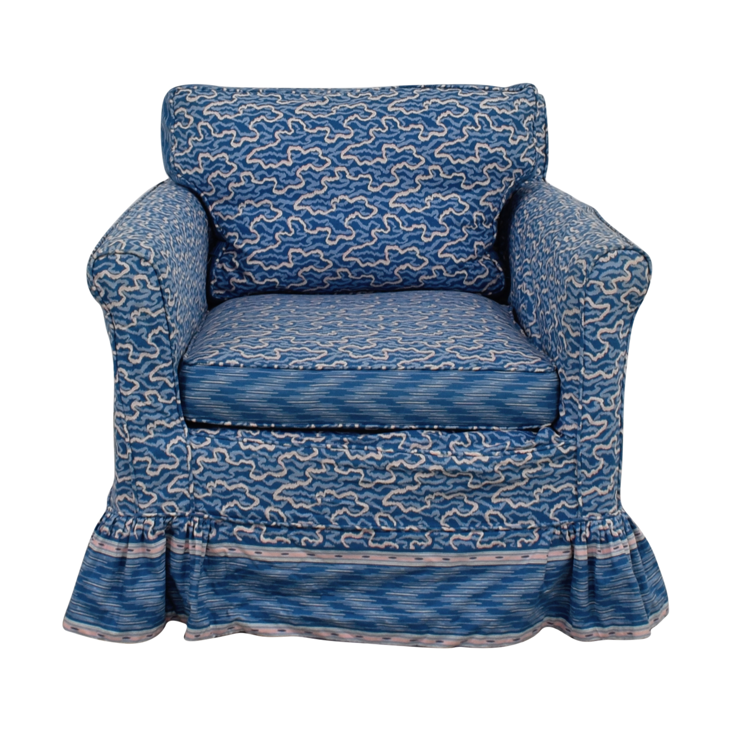 Custom Blue Upholstered Accent Chair Dimensions