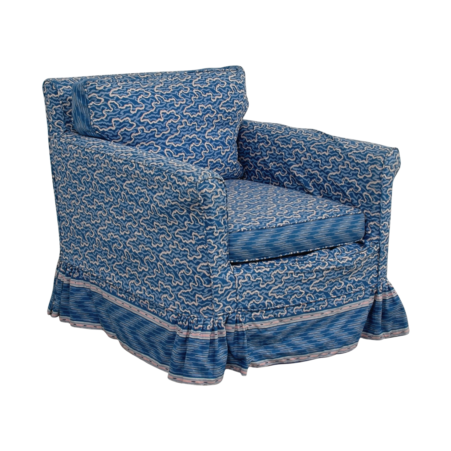 Unique Upholstered Chairs: Custom Blue Upholstered Accent Chair / Chairs