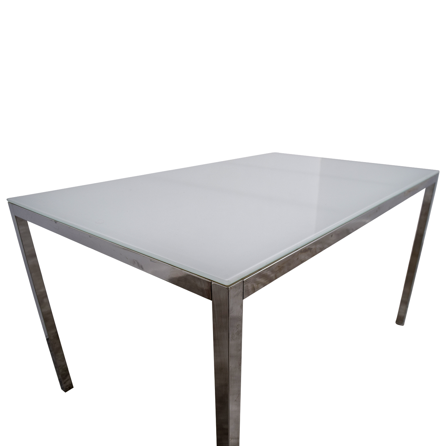 ... IKEA White Glass Top Dining Table / Dinner Tables