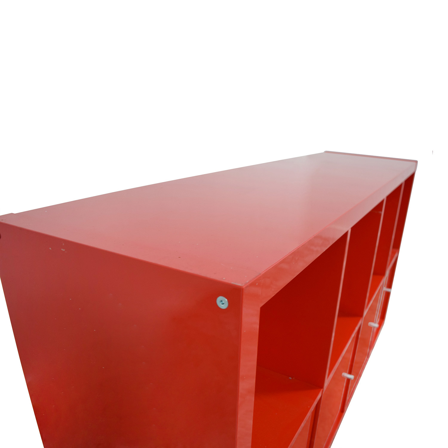 78 Off Ikea Ikea Red Shelving With Storage Cabinets