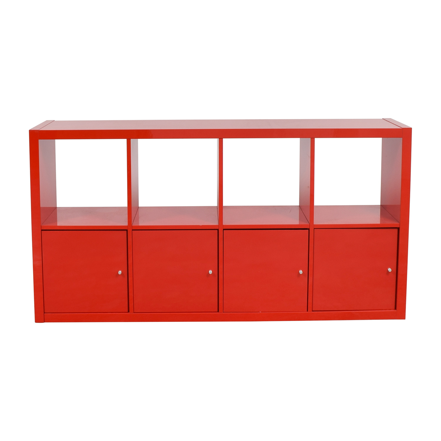 Ikea Red Shelving With Storage Cabinets Bookcases