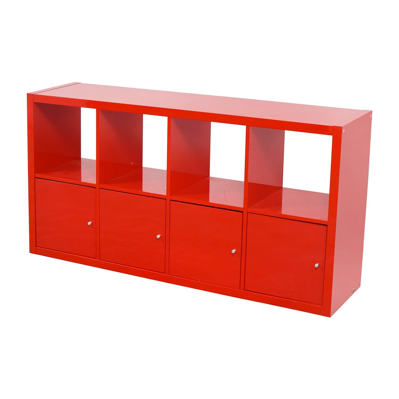 Ikea Cabinet Sale: IKEA IKEA Red Shelving With Storage Cabinets