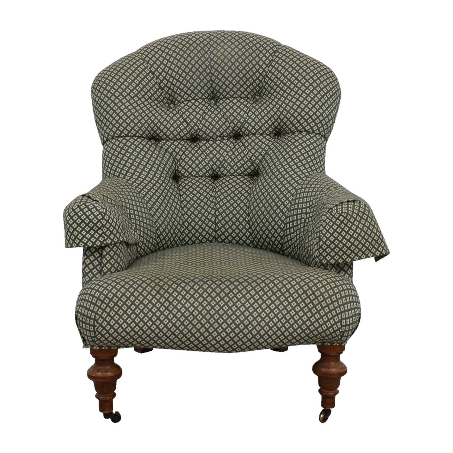 shop  Custom Made Green and White Tufted Armchair online
