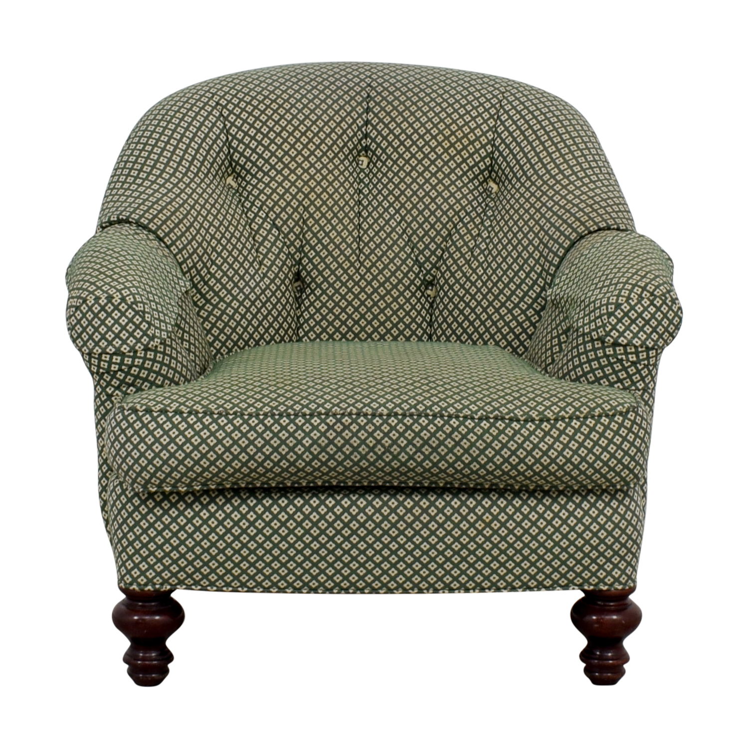 Sherrill Furniture Sherrill Furniture Tufted Green & White Armchair second hand
