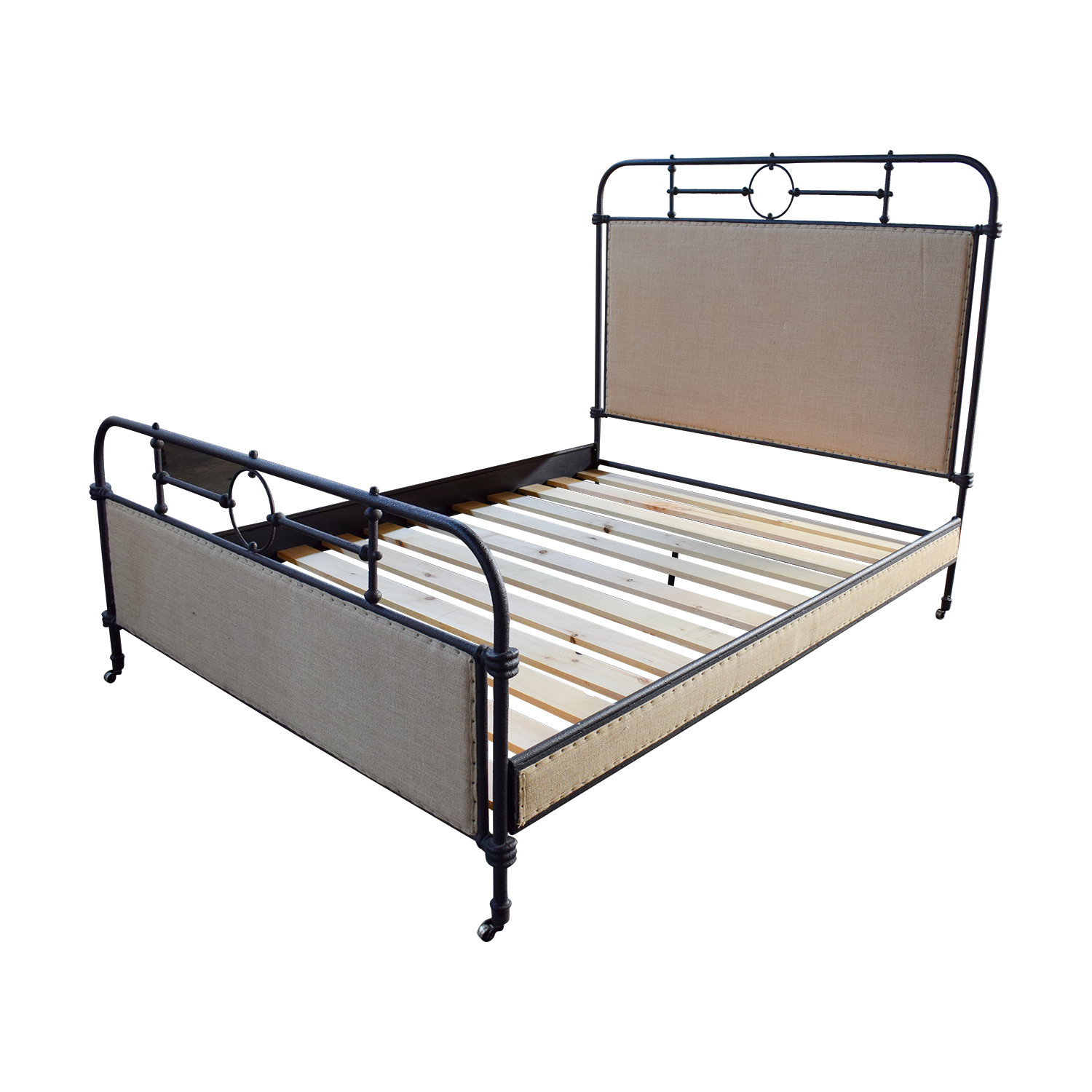 62 Off Abc Home Abc Home Upholstered Metal Queen Bed Beds