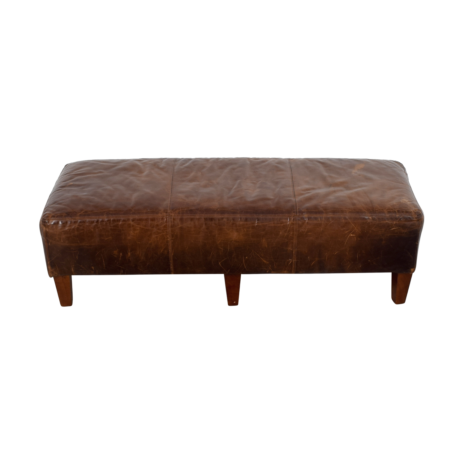 buy Pottery Barn Brown Leather Bench Pottery Barn Benches