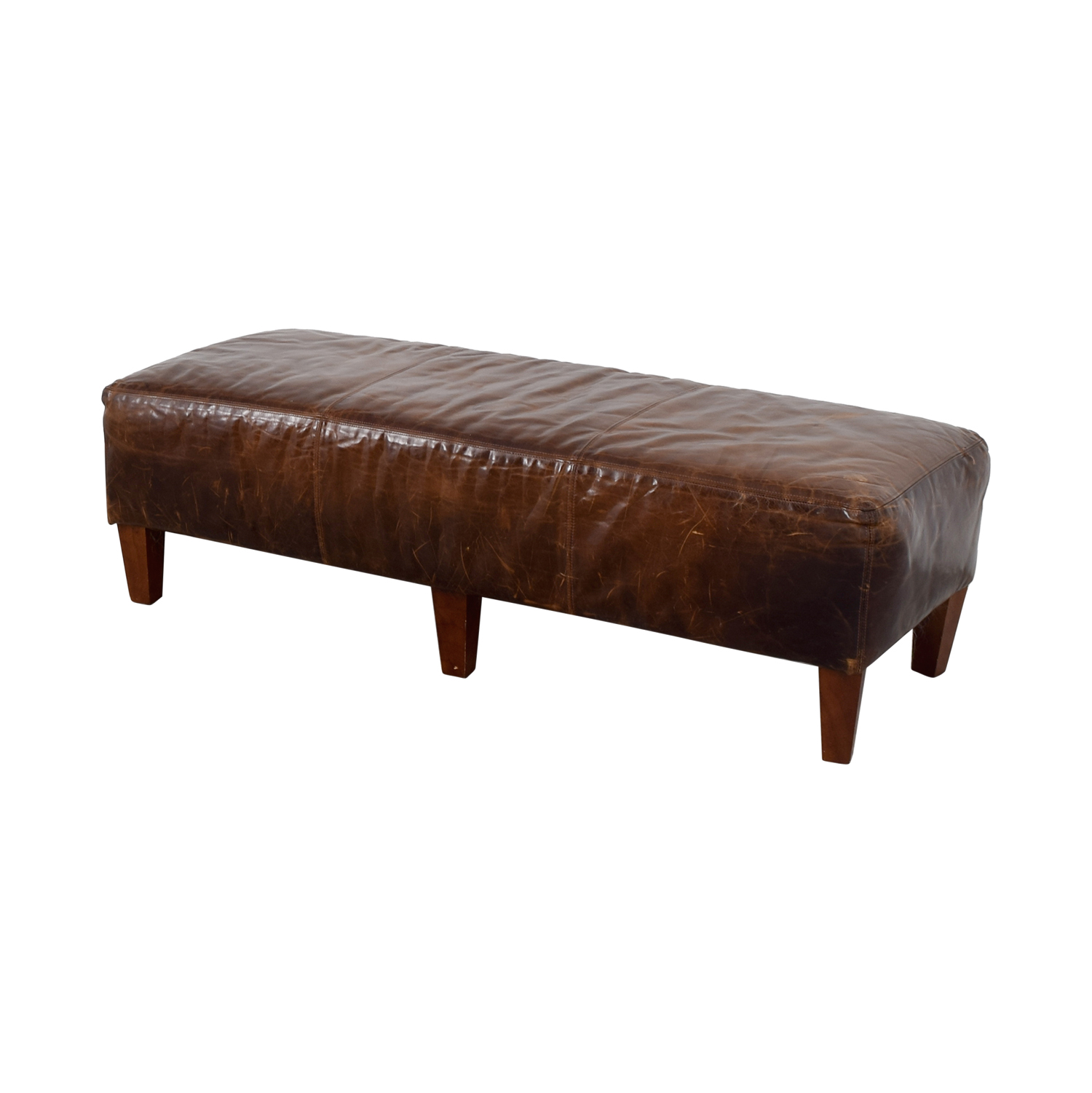 Pottery Barn Pottery Barn Brown Leather Bench