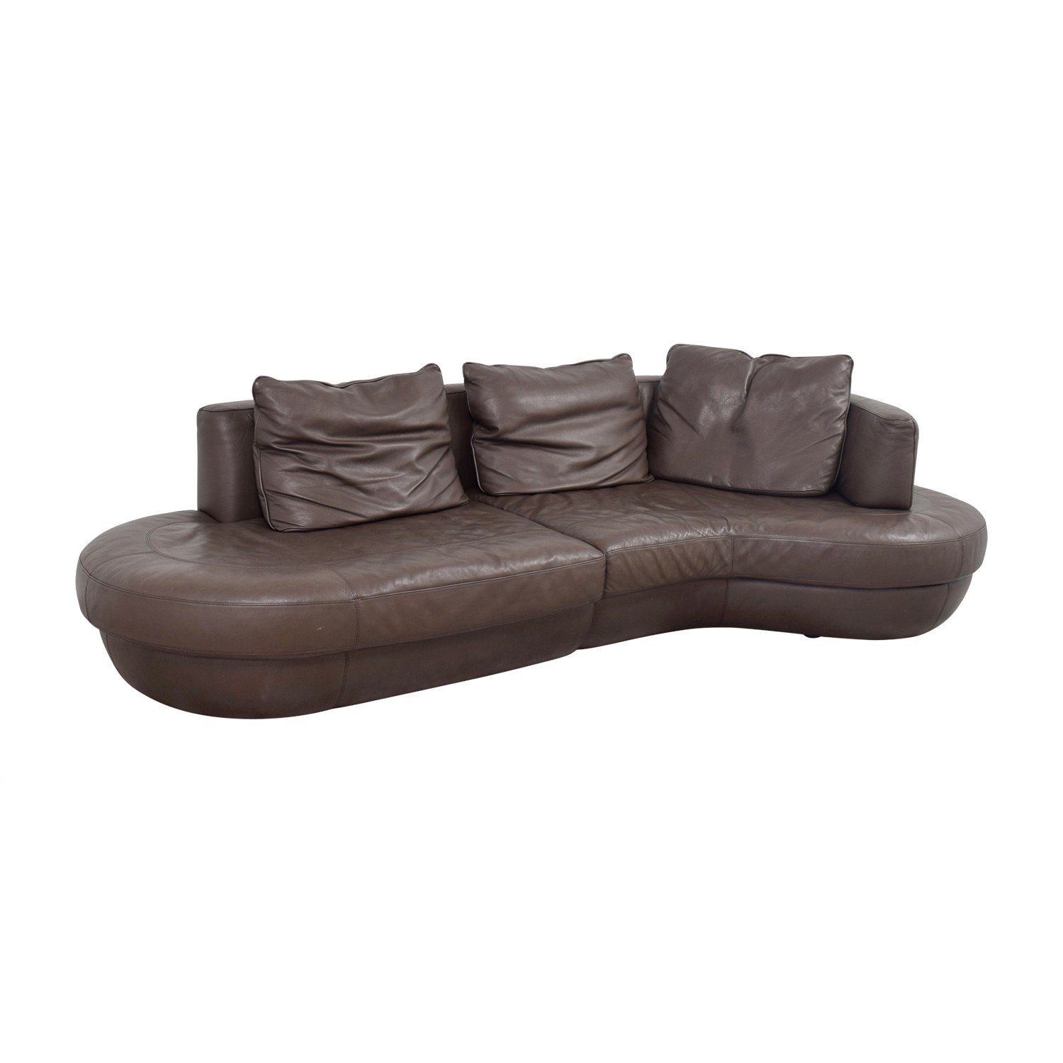 Curved Sofa Sectional Leather: Natuzzi Natuzzi Rondo Brown Leather Curved