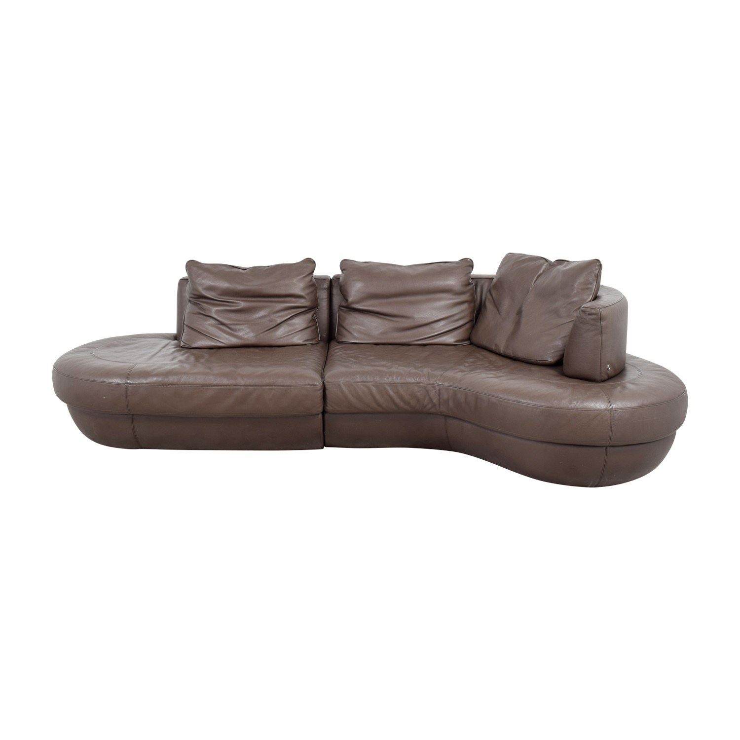 buy Natuzzi Rondo Brown Leather Curved Sectional Natuzzi