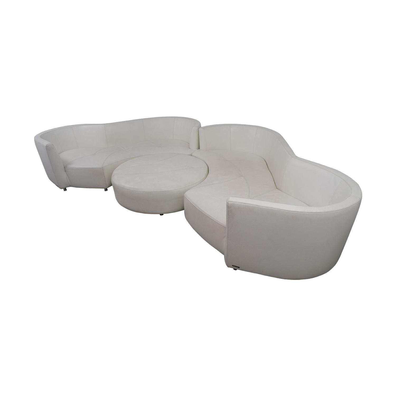 Roche Bobois White Digital Curved Three-Cushion Sofas with Ottoman / Sofas