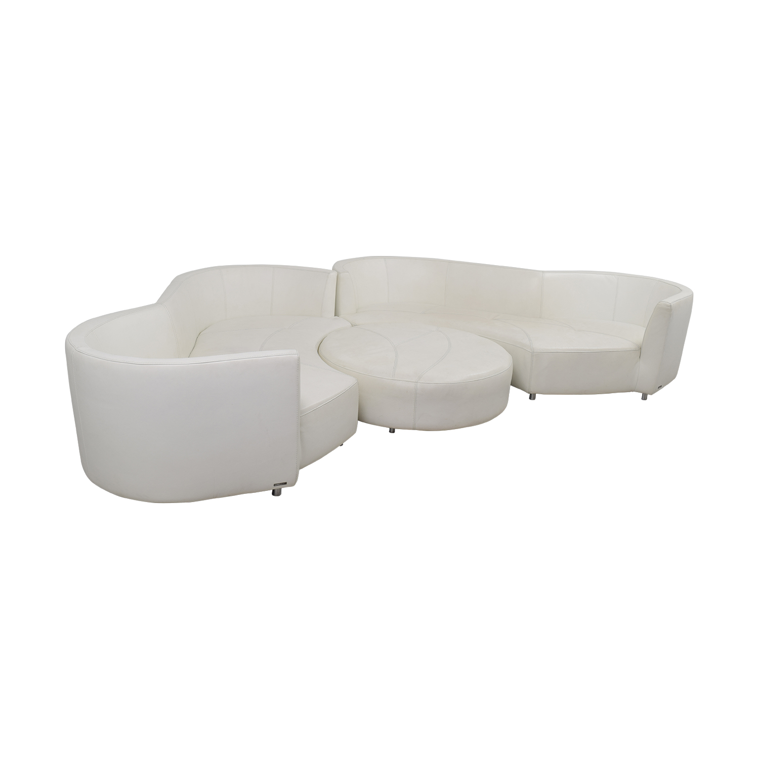 Roche Bobois White Digital Curved Three-Cushion Sofas with Ottoman / Sofas