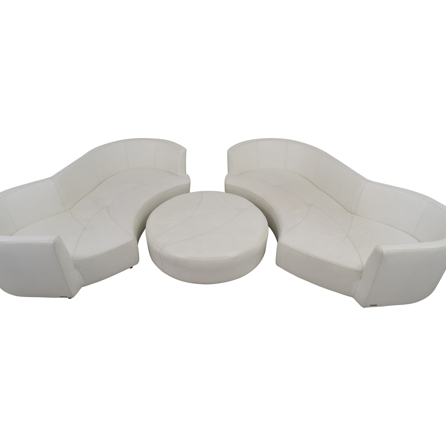 Roche Bobois Roche Bobois White Digital Curved Three-Cushion Sofas with Ottoman second hand