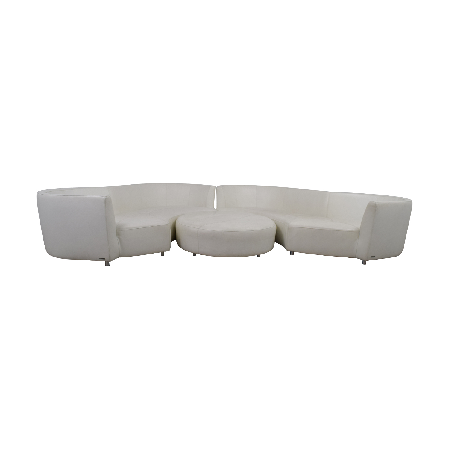 73% OFF   Roche Bobois Roche Bobois White Digital Curved Three Cushion  Sofas With Ottoman / Sofas