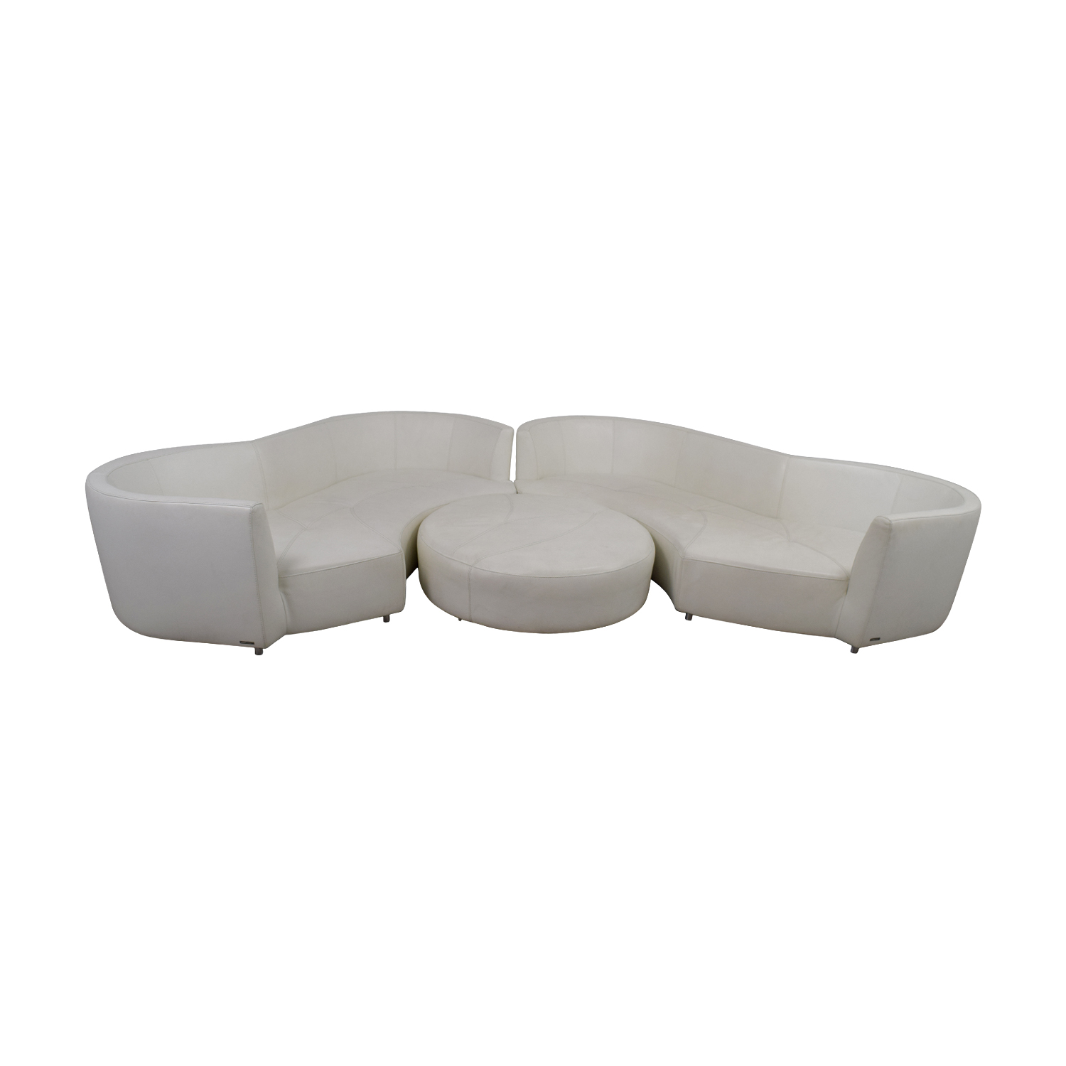 Roche Bobois White Digital Curved Three-Cushion Sofas with Ottoman sale