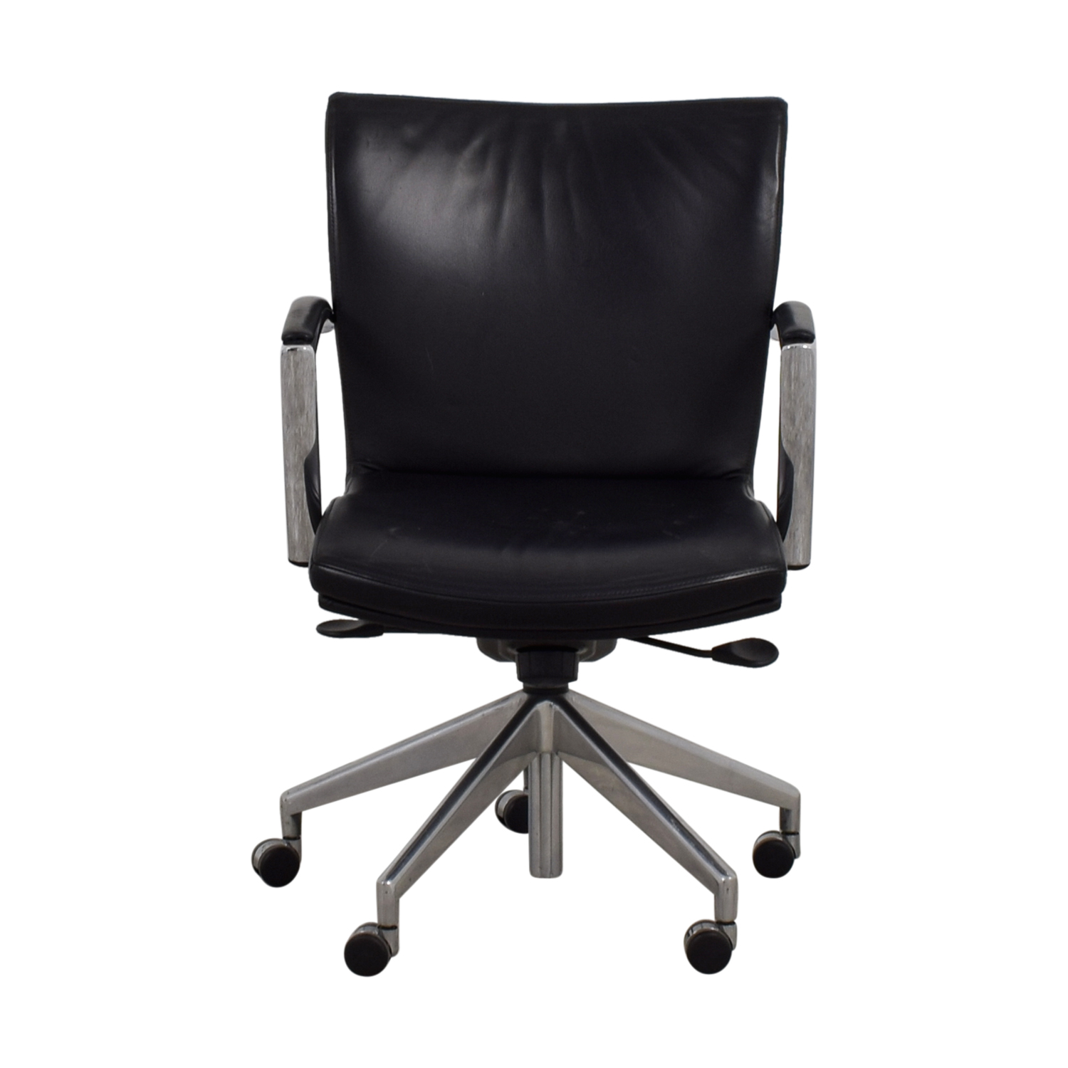 61 Off Black Leather Desk Chair Chairs
