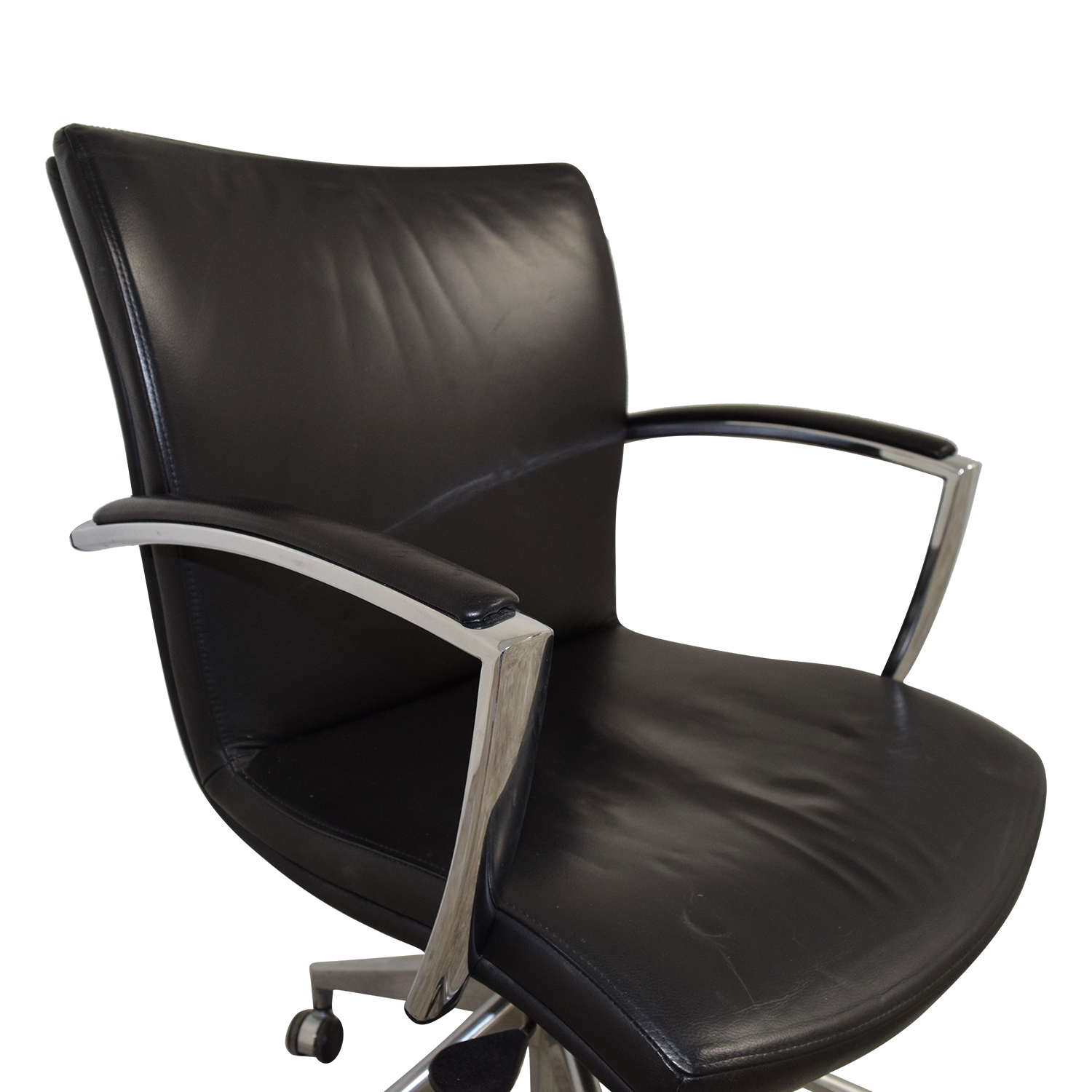 61 off black leather desk chair chairs for Home office chairs leather
