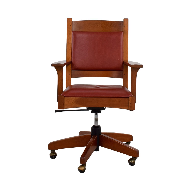 Stickley Furniture Stickley Furniture Red Leather Desk Chair Discount