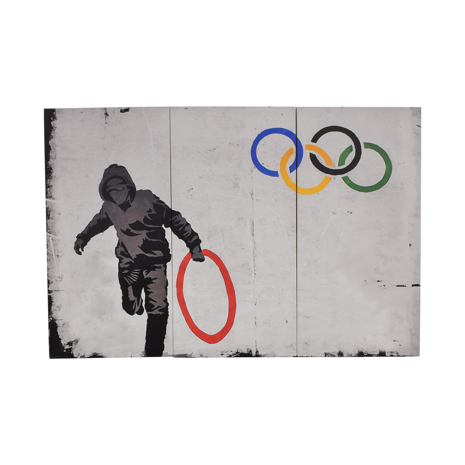 Three Panel Banksy Olympic Canvas Print dimensions