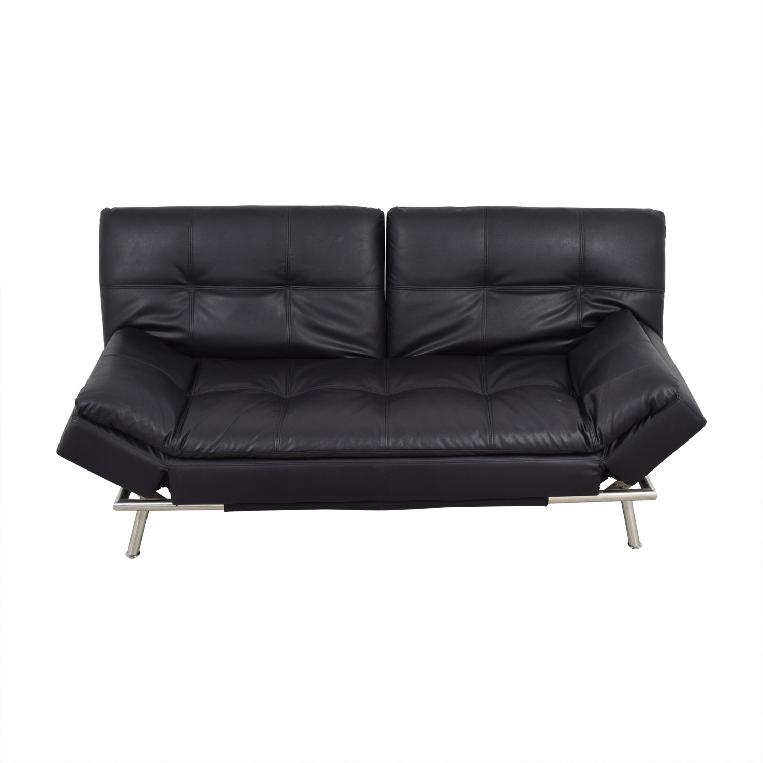 Black Leather Chesterfield Futon nyc