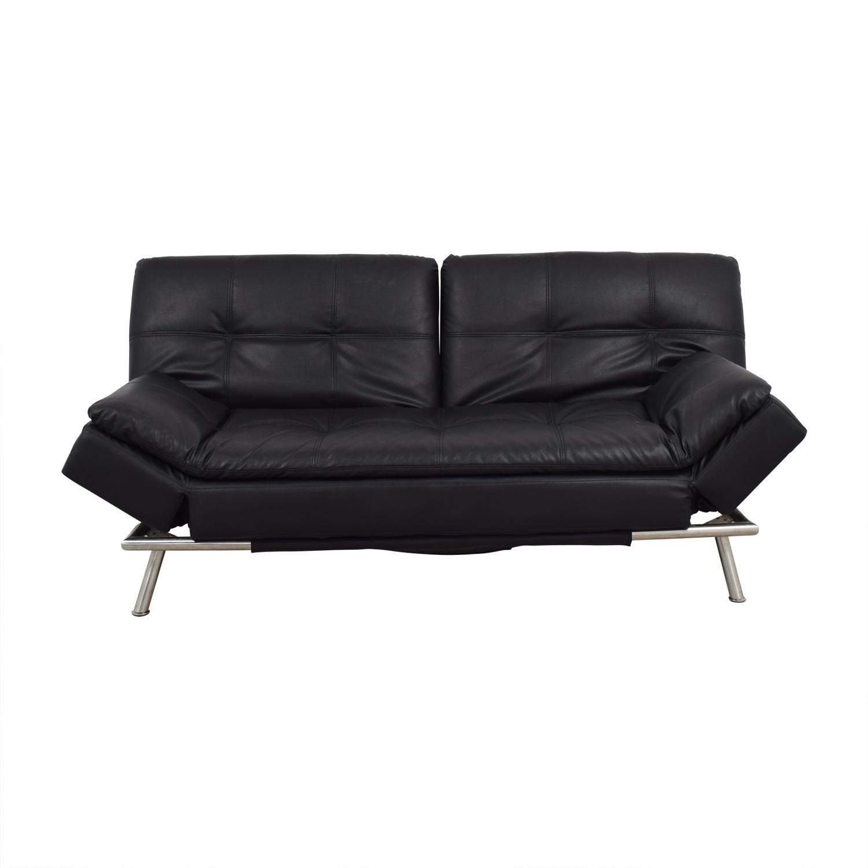 83% OFF - Black Leather Chesterfield Futon / Sofas