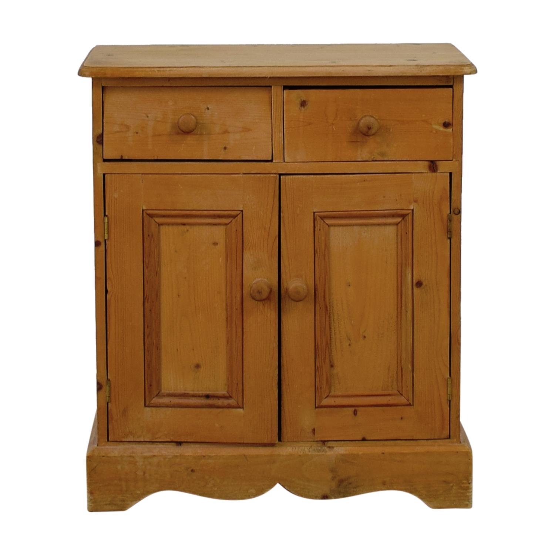 Oak Finish Wood Two-Drawer Cabinet used