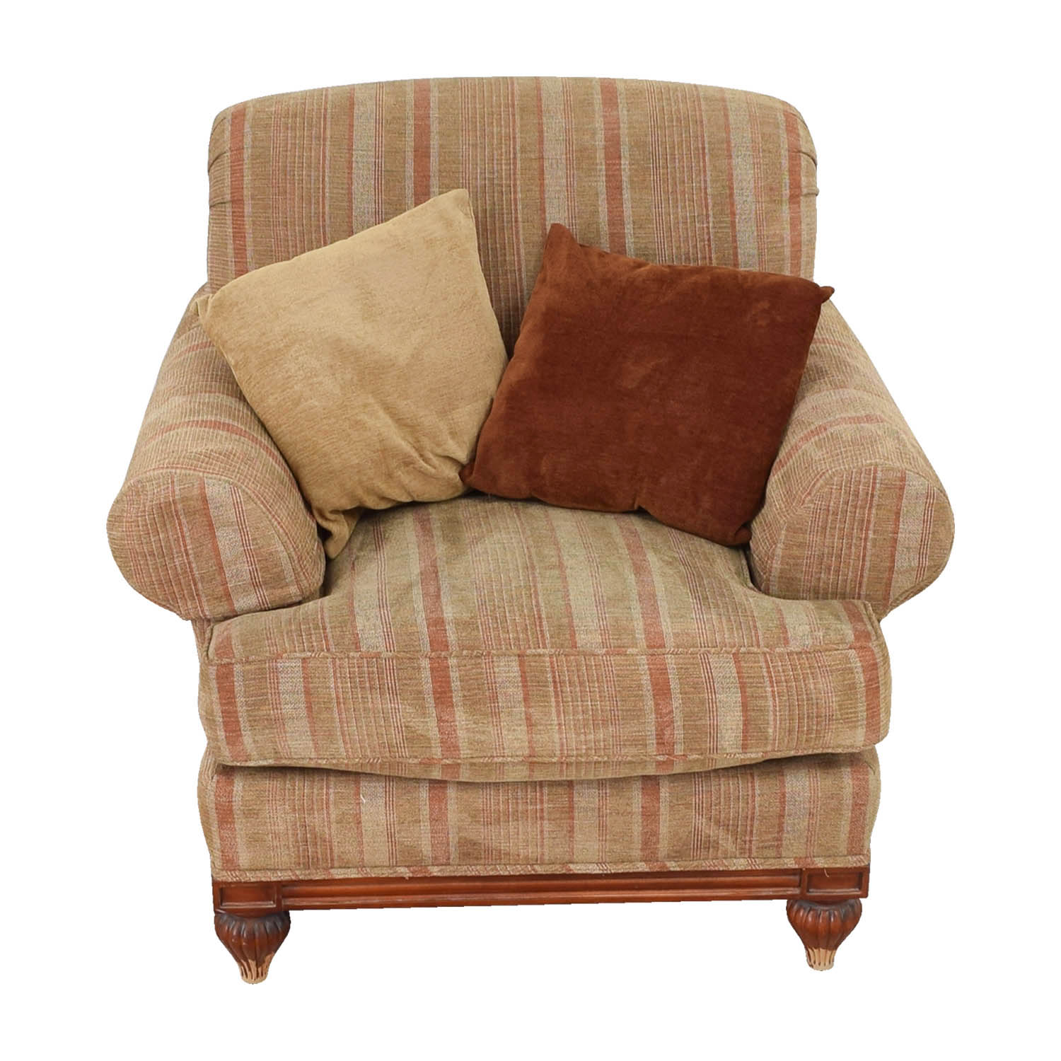 shop Councill Councill Tan and Paprika Comfort Chair with Throw Pillows online
