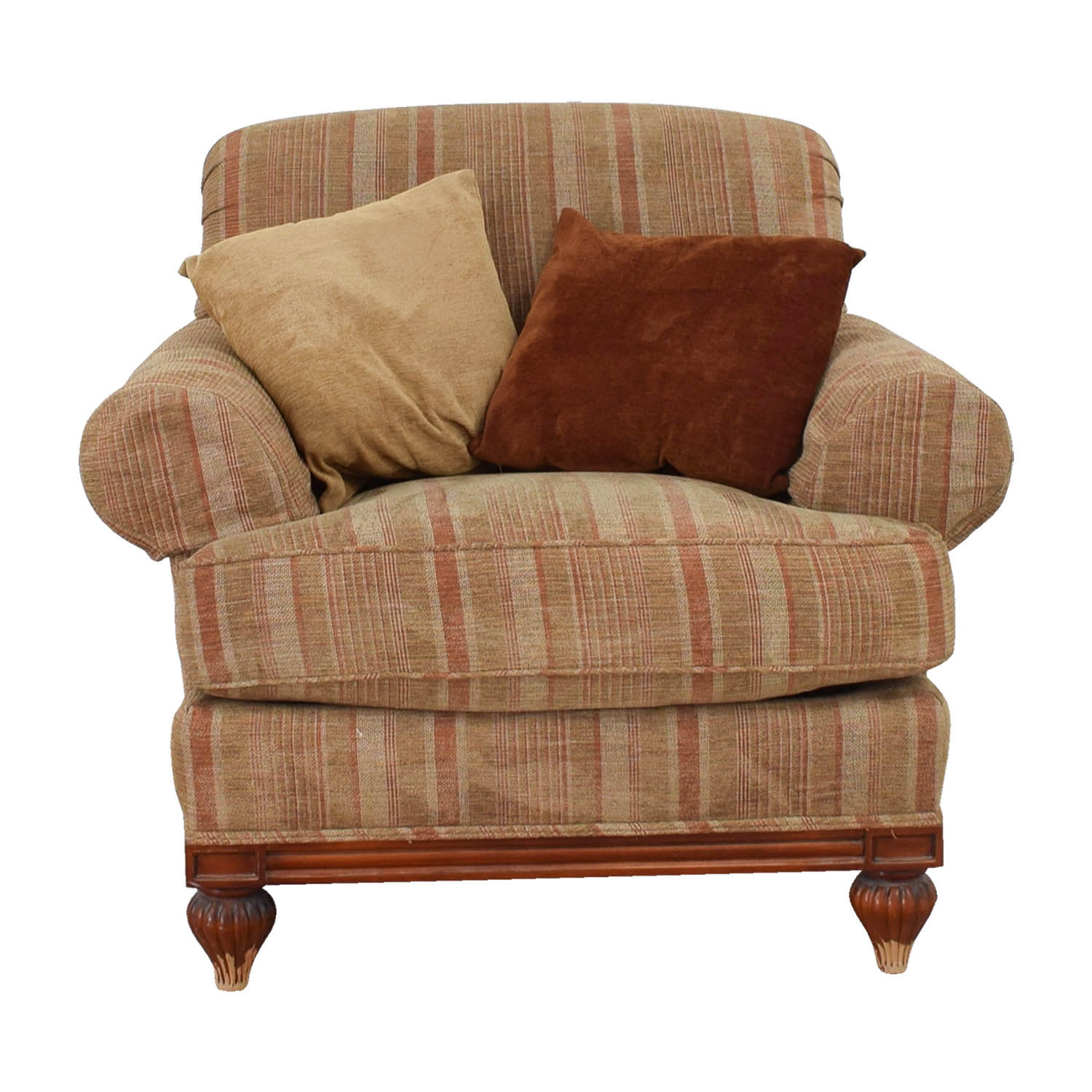 Councill Councill Tan and Paprika Comfort Chair with Throw Pillows