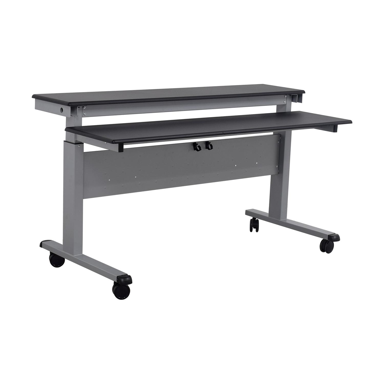 86% OFF - Rakuten Crank Adjustable Height Sit To Stand Up Desk / Tables