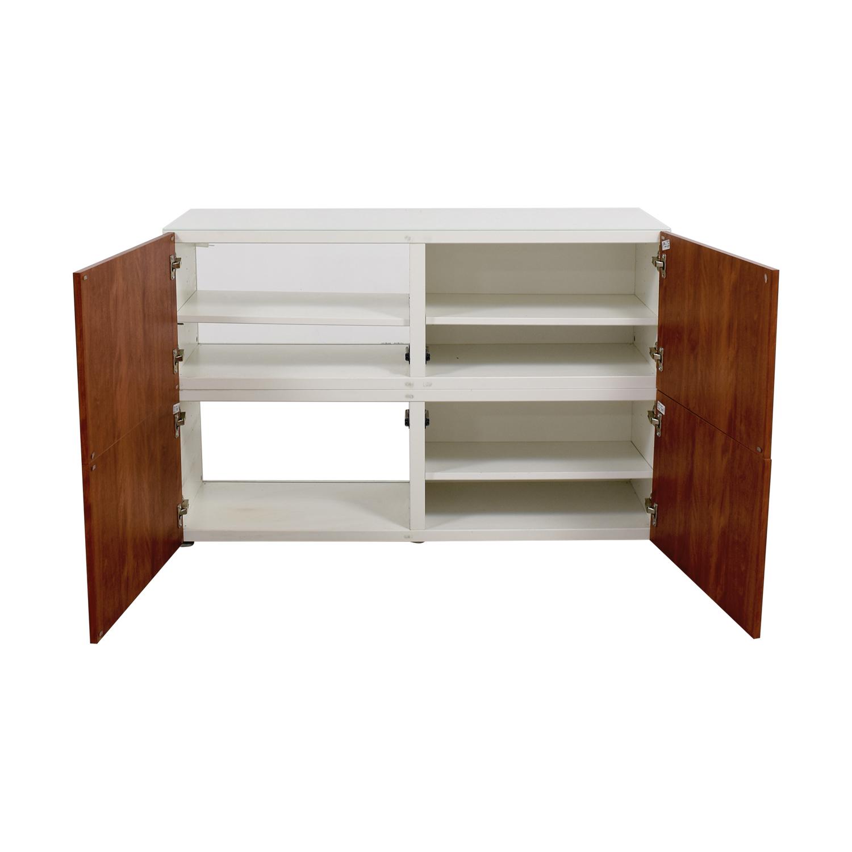 90 off ikea ikea modern white and wood media unit storage for Ikea wood shelving units