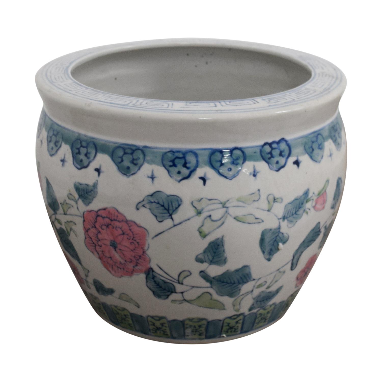 buy White Floral Flower Pot