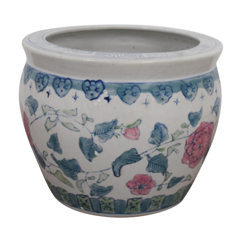 buy White Floral Flower Pot Decor