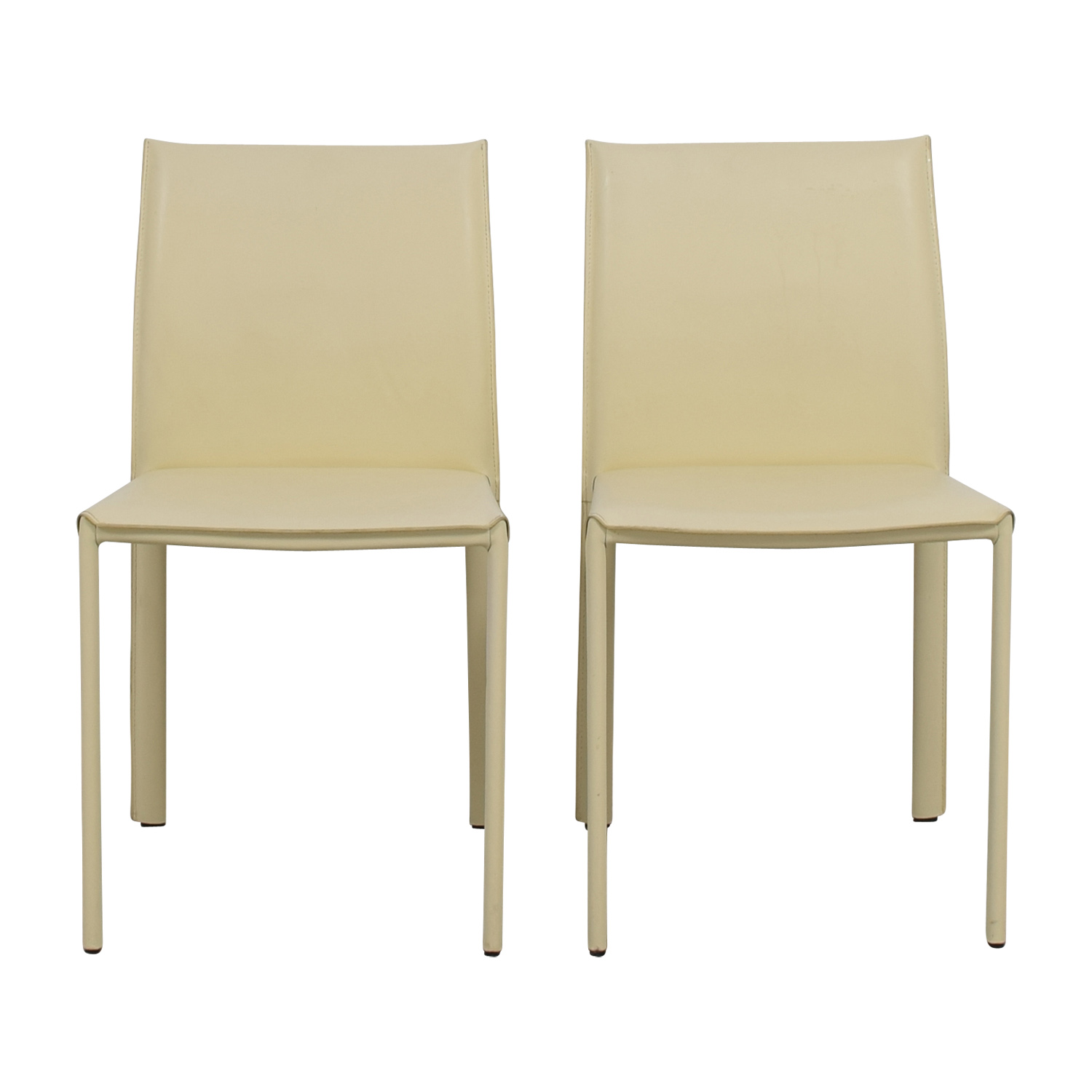 Baxton Studio Crawford Ivory Leather Chairs Baxton Studio
