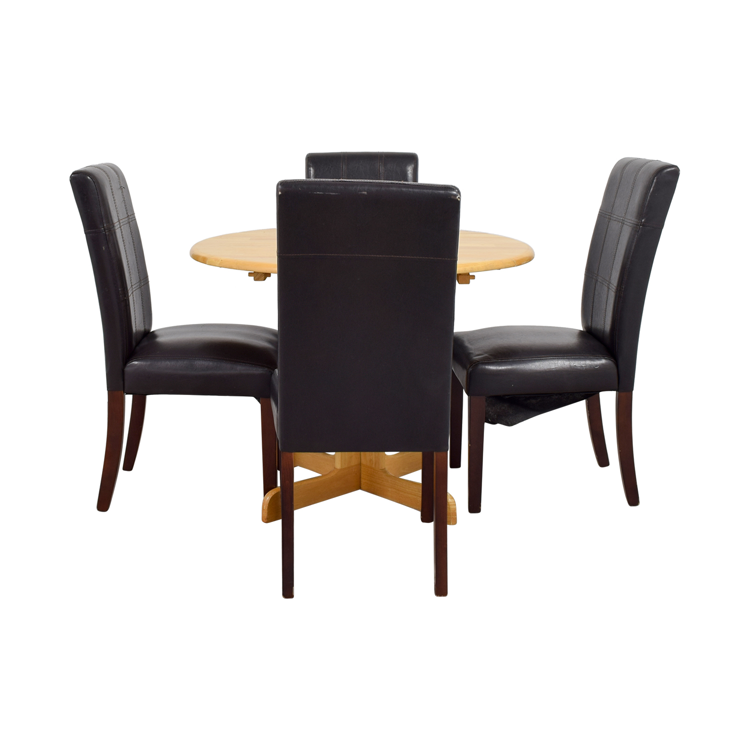 Raymour & Flannigan Rouch Butcher Block Table with Brown Leather Chairs / Tables