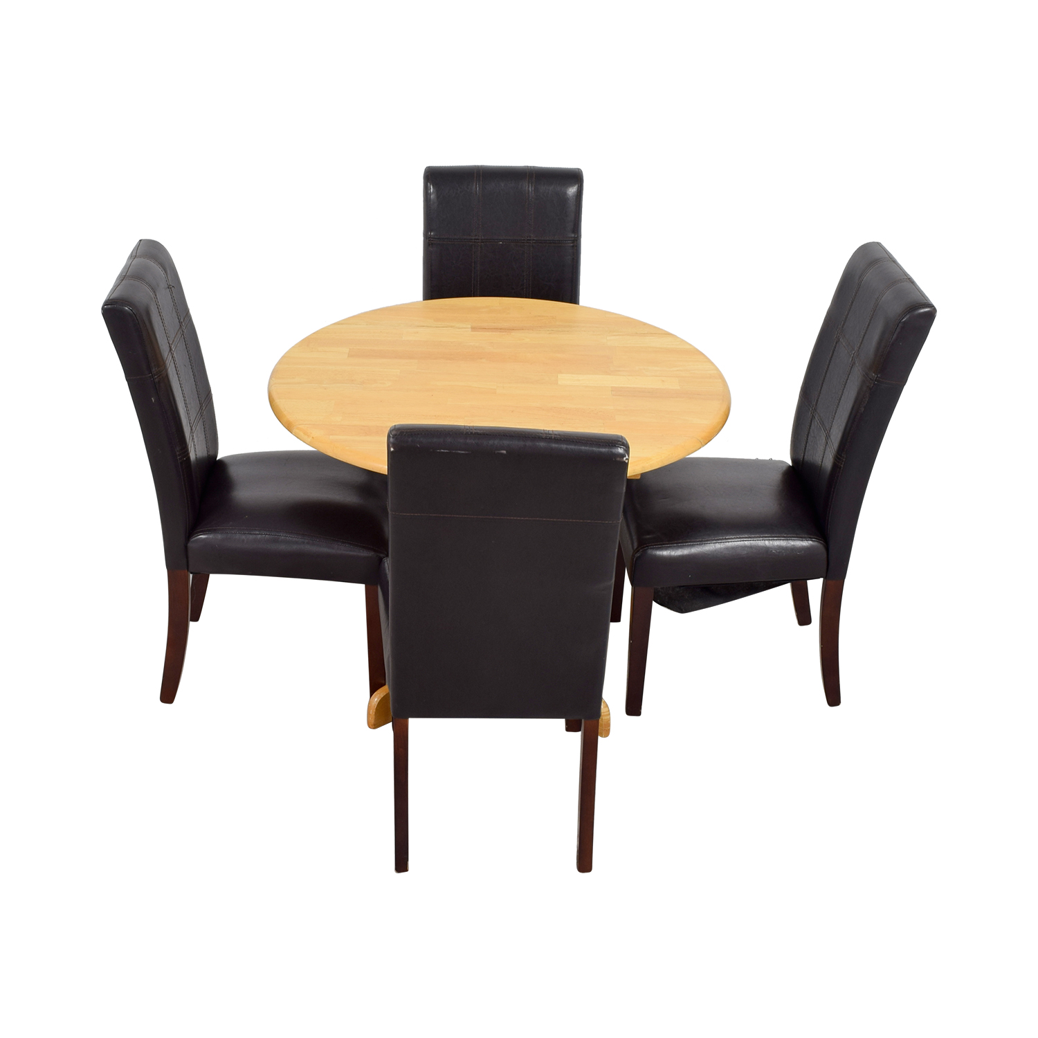 Raymour & Flannigan Raymour & Flannigan Rouch Butcher Block Table with Brown Leather Chairs