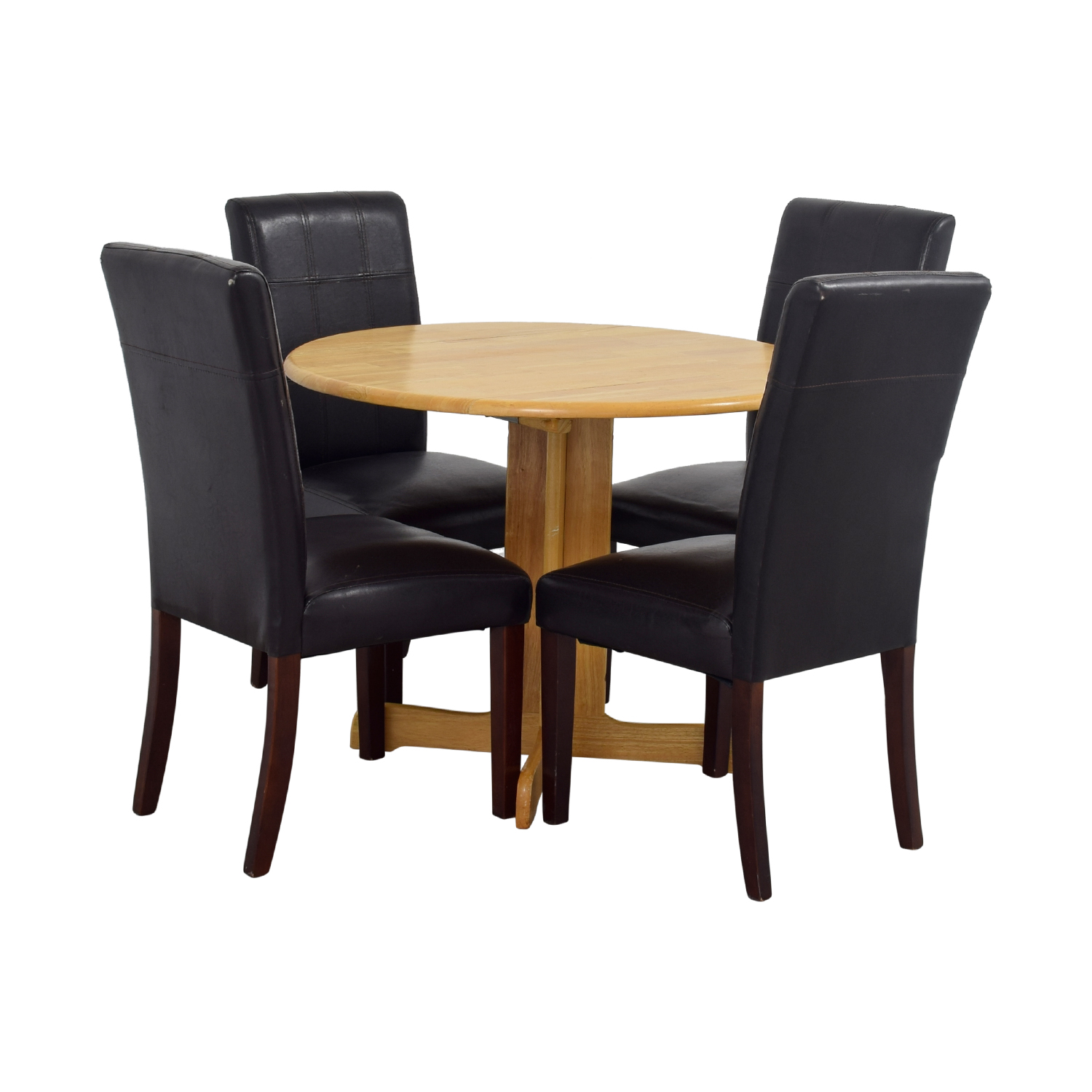 Raymour & Flannigan Rouch Butcher Block Table with Brown Leather Chairs / Dining Sets