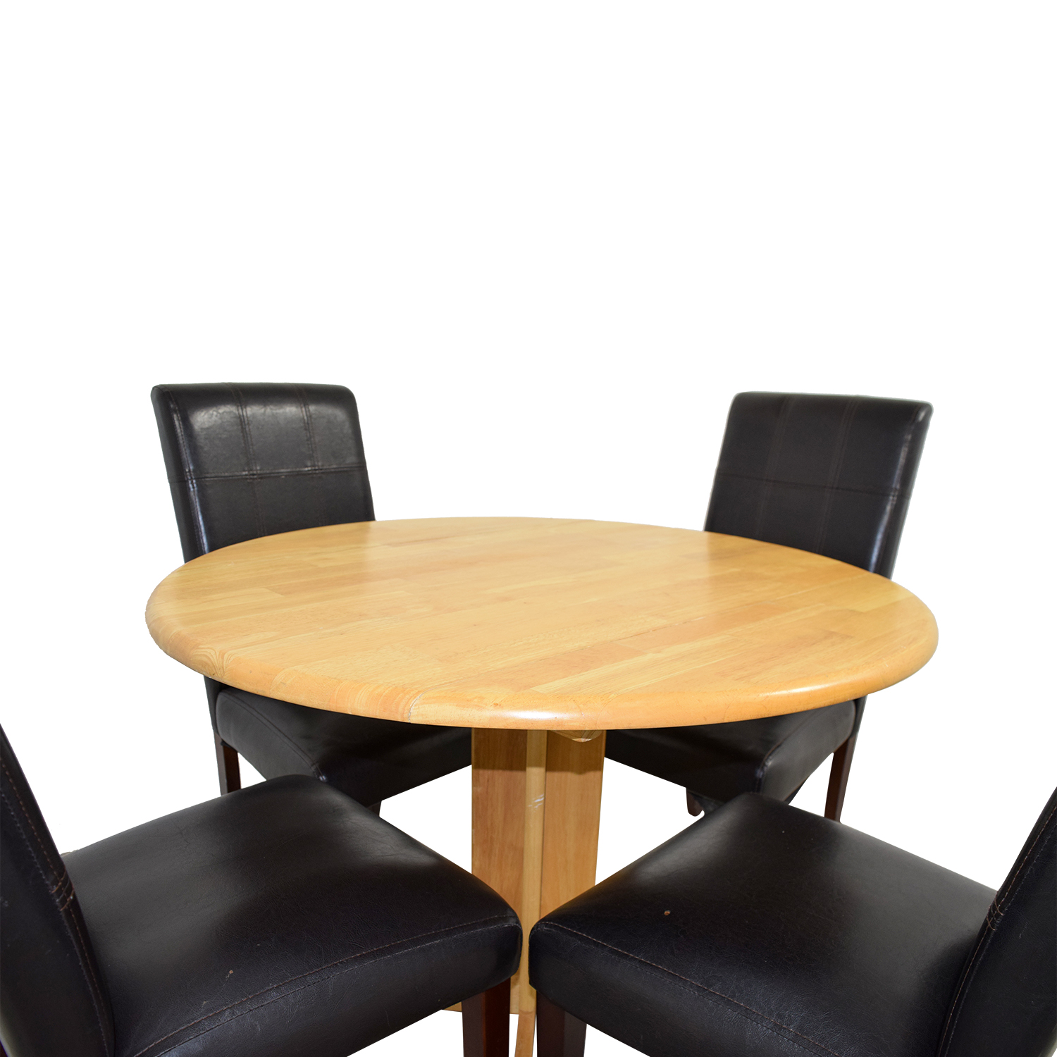 Raymour & Flannigan Raymour & Flannigan Rouch Butcher Block Table with Brown Leather Chairs Tables