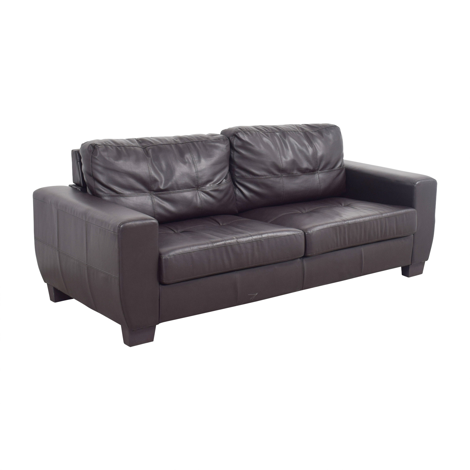 Brown Bonded Leather Two-Cushion Sofa nj
