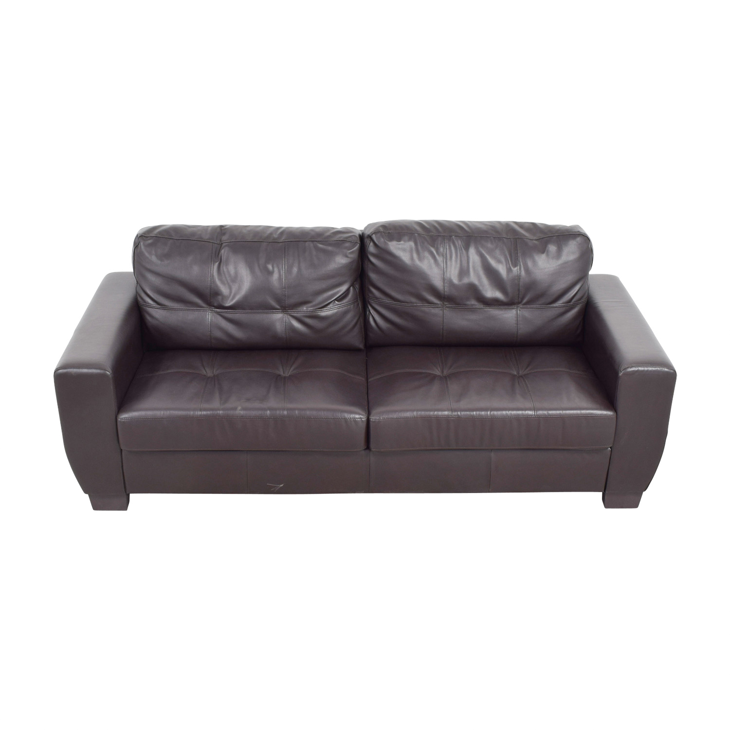 shop Brown Bonded Leather Two-Cushion Sofa Classic Sofas