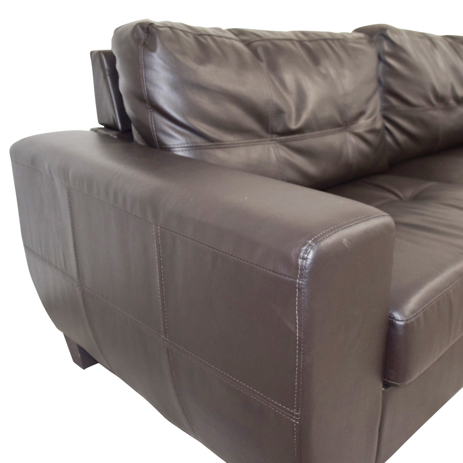 Brown Bonded Leather Two-Cushion Sofa dimensions