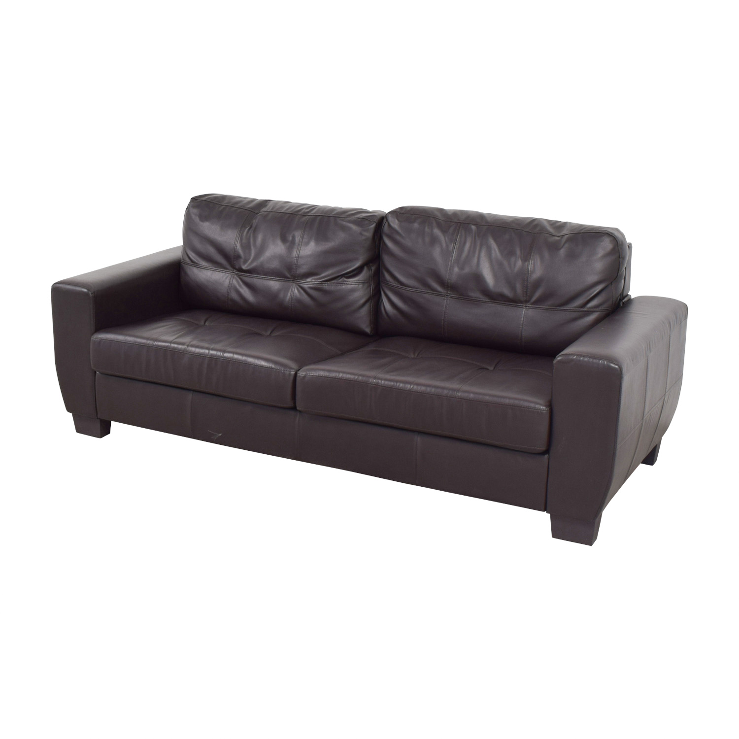 Brown Bonded Leather Two-Cushion Sofa sale