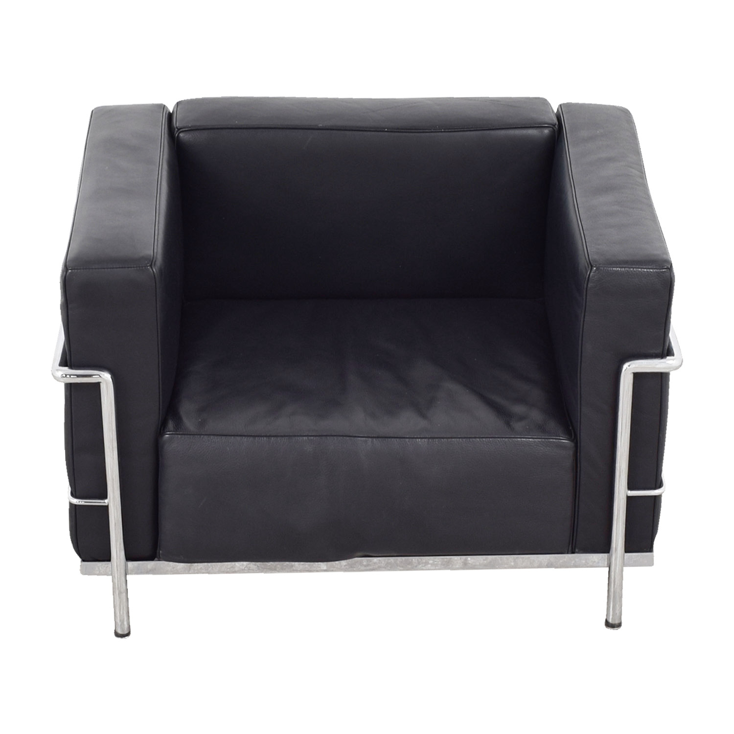 79 off le corbusier replica black lounge chair chairs for Le corbusier replica