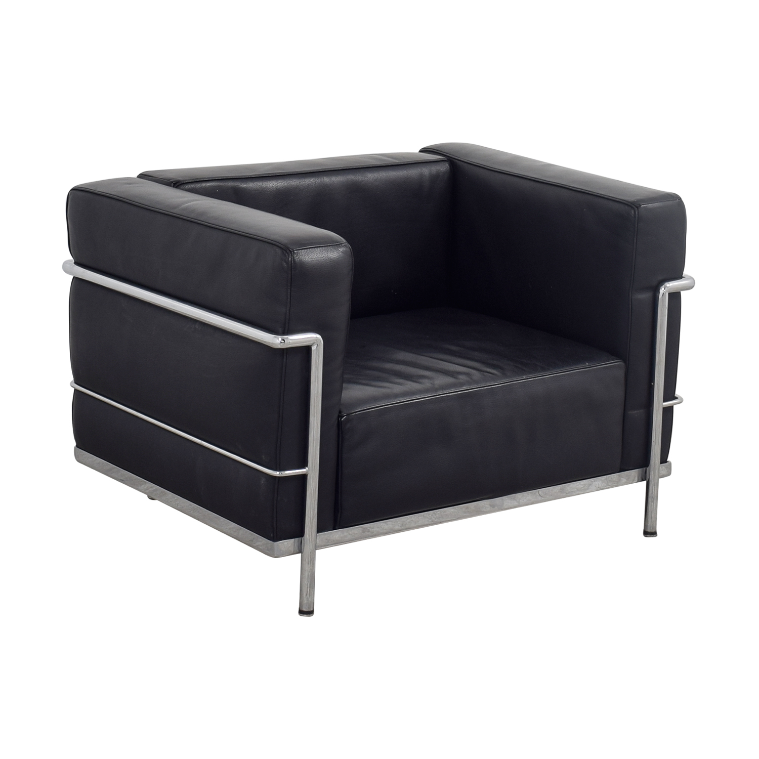 73 off le corbusier replica black l3 accent chair chairs for Le corbusier replica