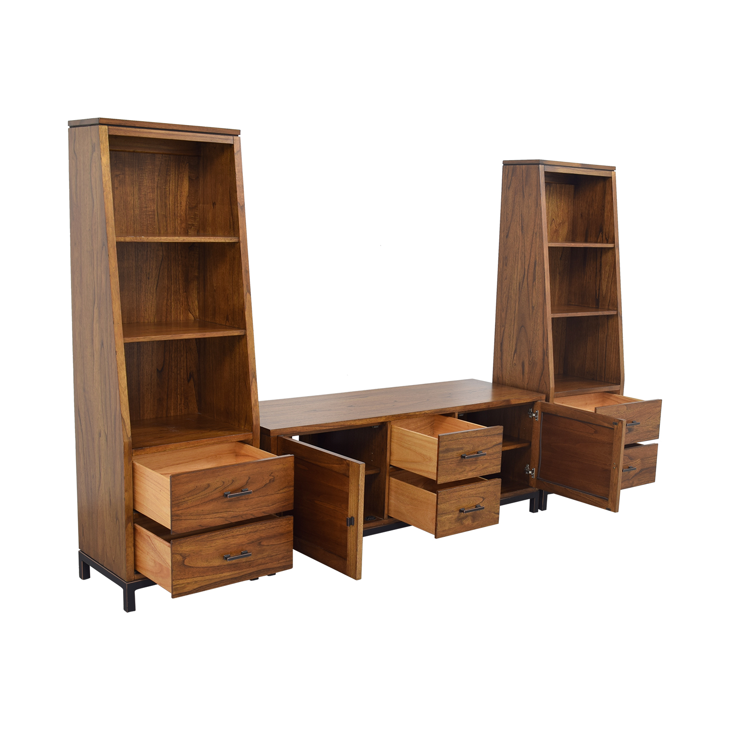 Ethan Allen Ethan Allen Hobson Media Center with Flanking Hobson Pier Bookcases Media Units