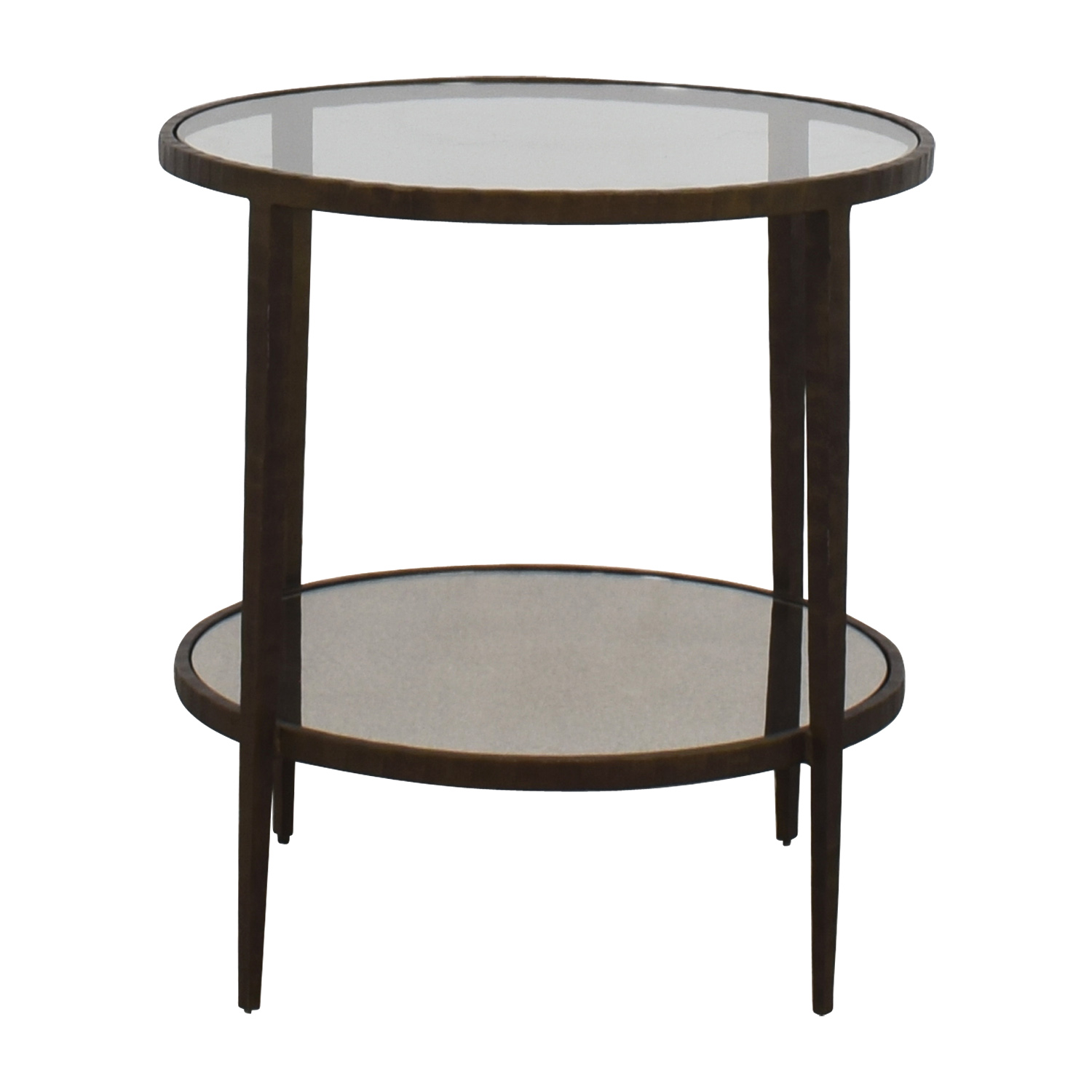 75 Off Crate Barrel Claremont Round Gl And Mirrored Side Table Tables