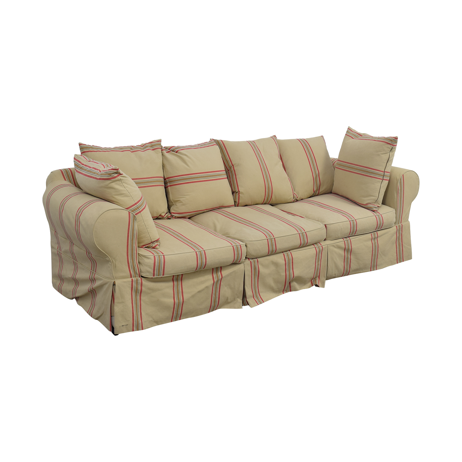 90 Off Beige With Red Stripe Three Cushion Slipcover