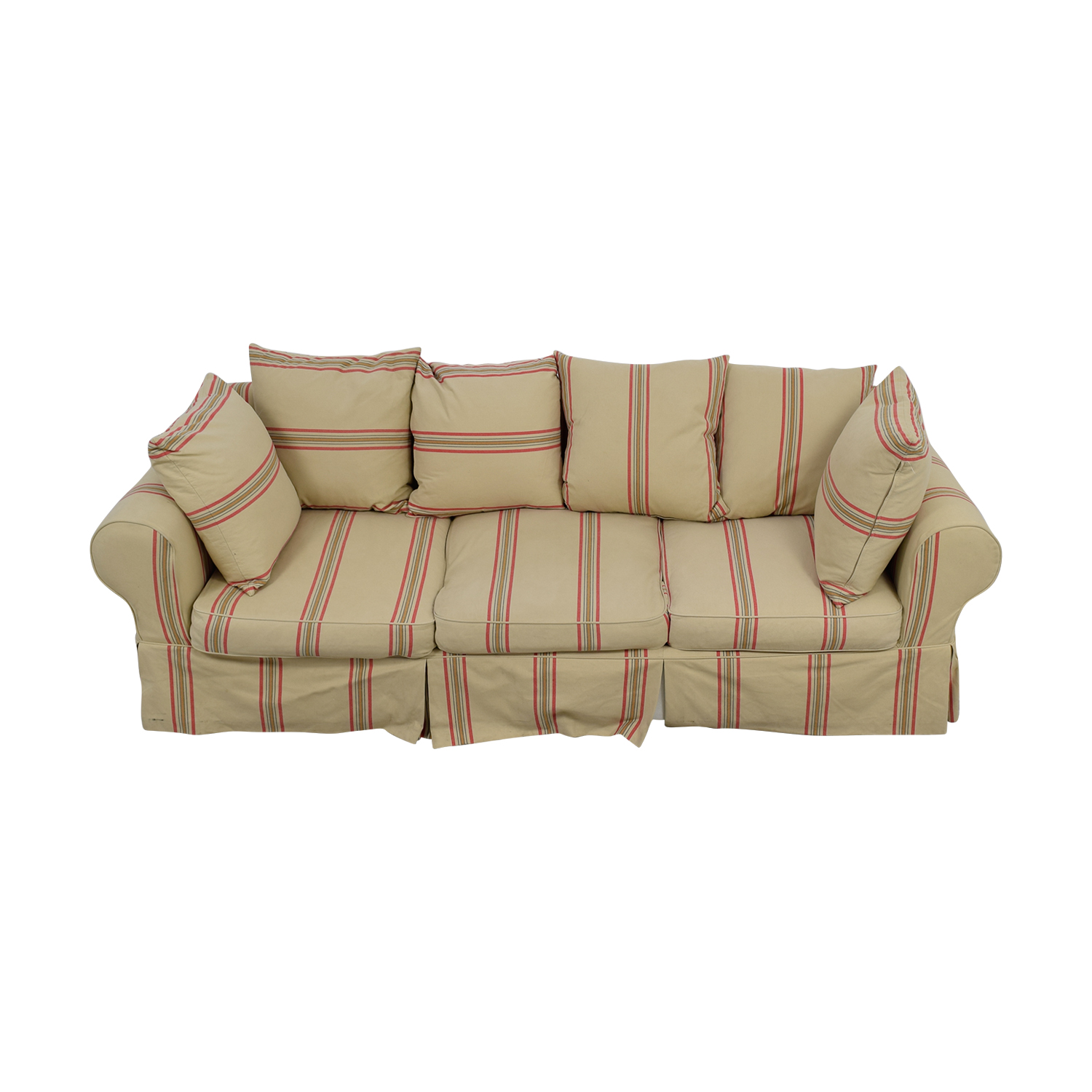 90% OFF - Beige with Red Stripe Three-Cushion Slipcover Sofa / Sofas